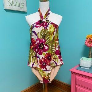 NWOT floral one piece halter swim suit